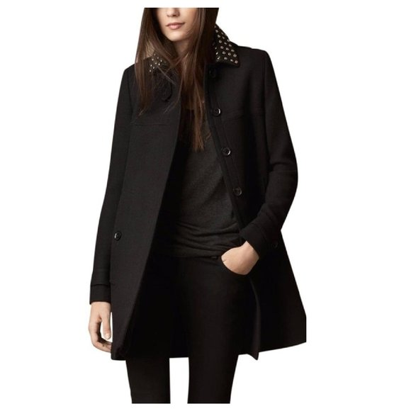 Burberry Studded Leather Collar A-line Coat